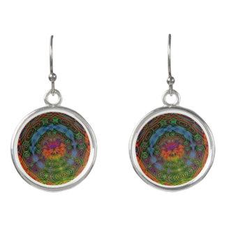 Groovy psychedelic drop earrings