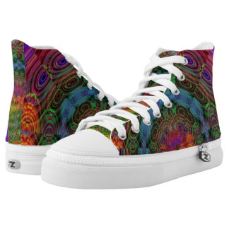 Groovy psychedelic high tops printed shoes