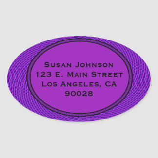 Groovy purple abstract oval sticker