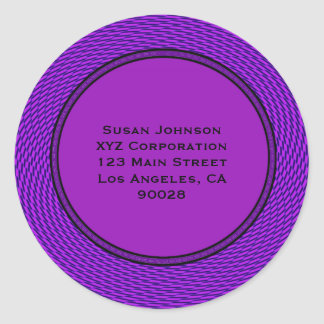 Groovy purple abstract round stickers