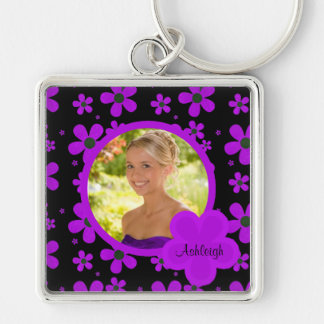Groovy Purple and Black Photo Keychain