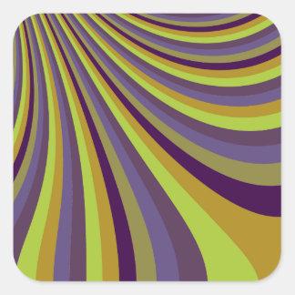 Groovy Purple and Green Rainbow Slide Stripes Patt Square Sticker