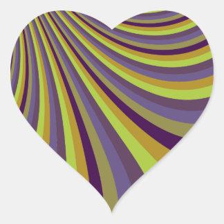 Groovy Purple and Green Rainbow Slide Stripes Patt Heart Sticker