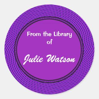 Groovy Purple Bookplate Round Sticker