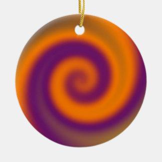 groovy purple orange art christmas ornament