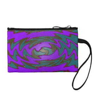 groovy purple teal abstract art coin purses