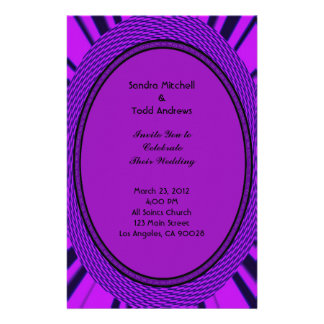Groovy Purple Wedding Abstract Customized Stationery