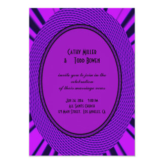 Groovy Purple Wedding Abstract Announcements