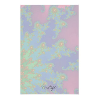 Groovy Rainbow Colored Fractal Art Stationery