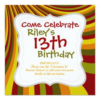 Groovy Red Yellow Orange Green Stripes Pattern 13 Cm X 13 Cm Square Invitation Card