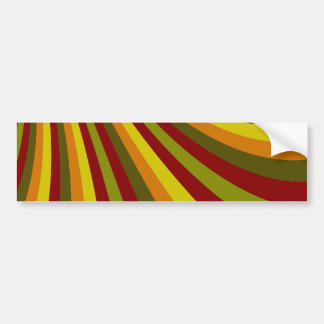 Groovy Red Yellow Orange Green Stripes Pattern Bumper Sticker