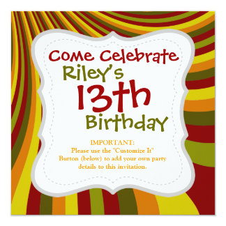 Groovy Red Yellow Orange Green Stripes Pattern 5.25x5.25 Square Paper Invitation Card