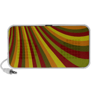 Groovy Red Yellow Orange Green Stripes Pattern Laptop Speakers
