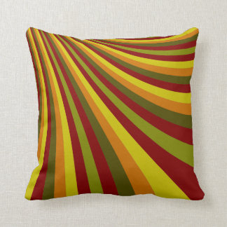 Groovy Red Yellow Orange Green Stripes Pattern Throw Pillow
