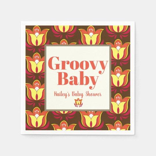 Groovy Retro 70s Hippie Baby Shower Disposable Napkins