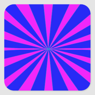 Groovy Retro Blue & Pink Background Square Sticker