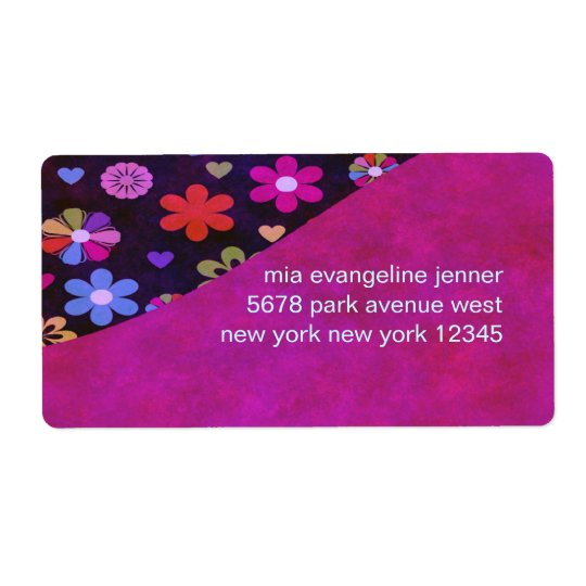 Groovy Retro Flower Power 60s 70s Personalised Shipping Label