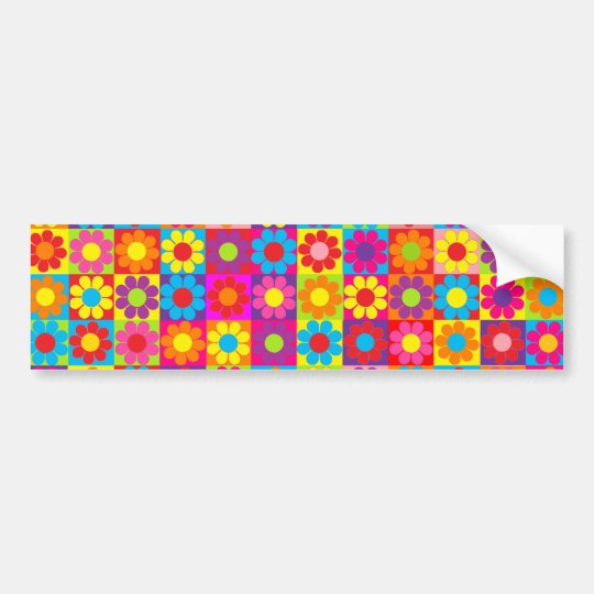 Groovy Retro Flower Power Bumper Sticker