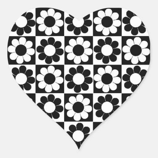 Groovy Retro Flower Power Heart Stickers