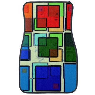 Groovy Retro Geometric Squares Car Mat