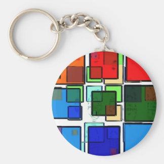 Groovy Retro Geometric Squares Keychains