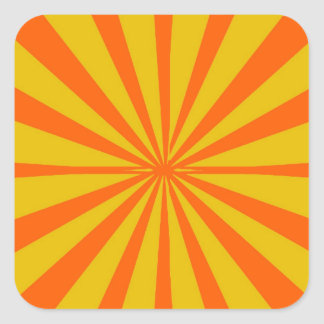 Groovy Retro Gold & Orange Background Square Sticker