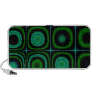 Groovy Retro Green Dots Circles Hippie Pop Pattern Laptop Speakers