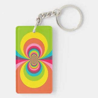Groovy Retro Hippie Vintage Rainbow Kaleidoscope Double-Sided Rectangular Acrylic Key Ring