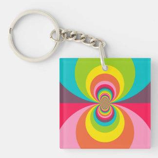 Groovy Retro Hippie Vintage Rainbow Kaleidoscope Double-Sided Square Acrylic Key Ring