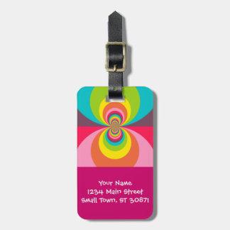 Groovy Retro Hippie Vintage Rainbow Kaleidoscope Luggage Tag