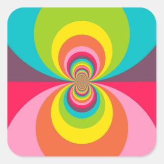 Groovy Retro Hippie Vintage Rainbow Kaleidoscope Square Stickers
