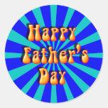Groovy Retro Light & Dark Blue Father's Day Round Sticker