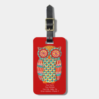 Groovy Retro Owl Luggage Tag - Customize it!