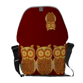Groovy Retro Owl Messenger Bag