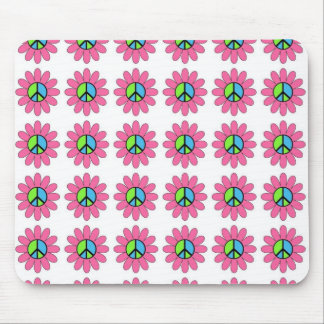Groovy Retro Pink Peace Symbol Flowers Mousepad