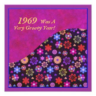 Groovy Retro PopArt Flower Power 60s 70s Birthday Custom Invite