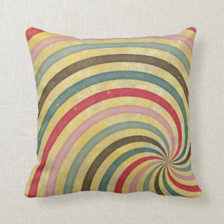 Groovy Retro Spiral Sunbeam Ray Swirl Cushion