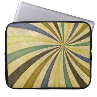 Groovy Retro Spiral Sunbeam Ray Swirl Design Laptop Computer Sleeve