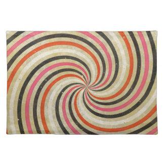 Groovy Retro Spiral Sunbeam Ray Swirl Design Placemat