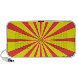 Groovy Retro Yellow & Red Background iPod Speaker