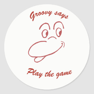 Groovy says classic round sticker