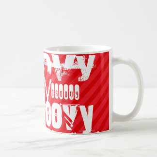 Groovy; Scarlet Red Stripes Classic White Coffee Mug