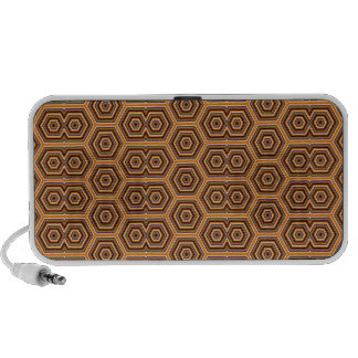 Groovy Seventies multicolor hexagon mosaic pattern iPhone Speakers