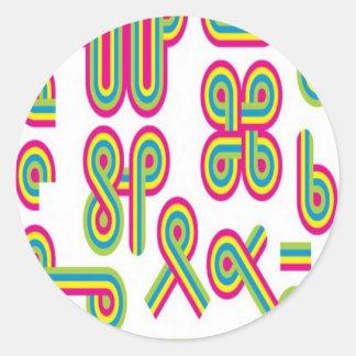 Groovy shapes design round sticker
