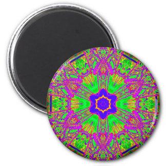 groovy six-point blue star 6 cm round magnet