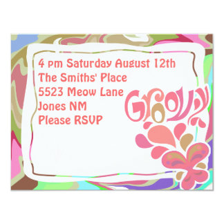 "Groovy Sixties Party 4.25"" X 5.5"" Invitation Card"