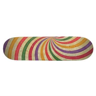 Groovy Spiral Sunbeam Ray Swirl Design Grungy Skate Board Deck