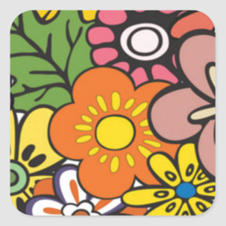 groovy square sticker