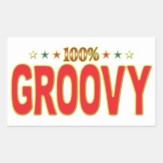 Groovy Star Tag Rectangular Sticker