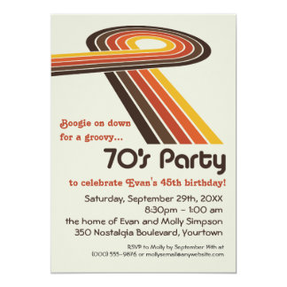 Groovy Stripes 70s Party 13 Cm X 18 Cm Invitation Card